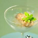 Basilikumgranite mit Austernkonfit und Gin